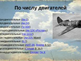 По числу двигателей однодвигательные (Ан-2) двухдвигательные (Ан-24) трёхдвиг