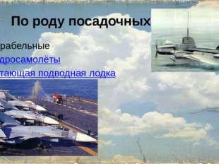 По роду посадочных органов Корабельные Гидросамолёты летающая подводная лодка