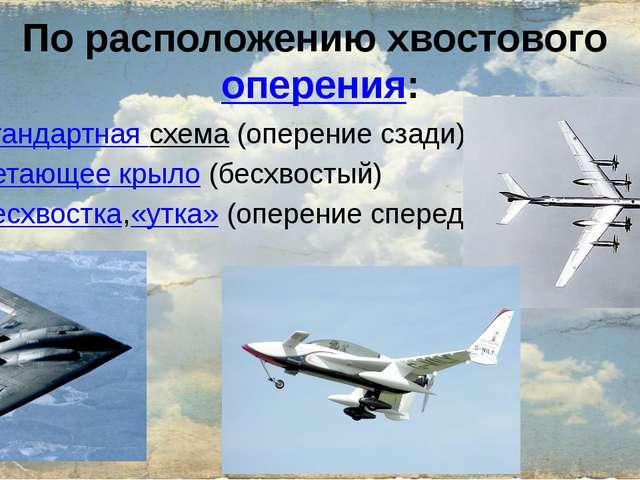 По расположению хвостовогооперения: стандартная схема(оперение сзади) летаю...