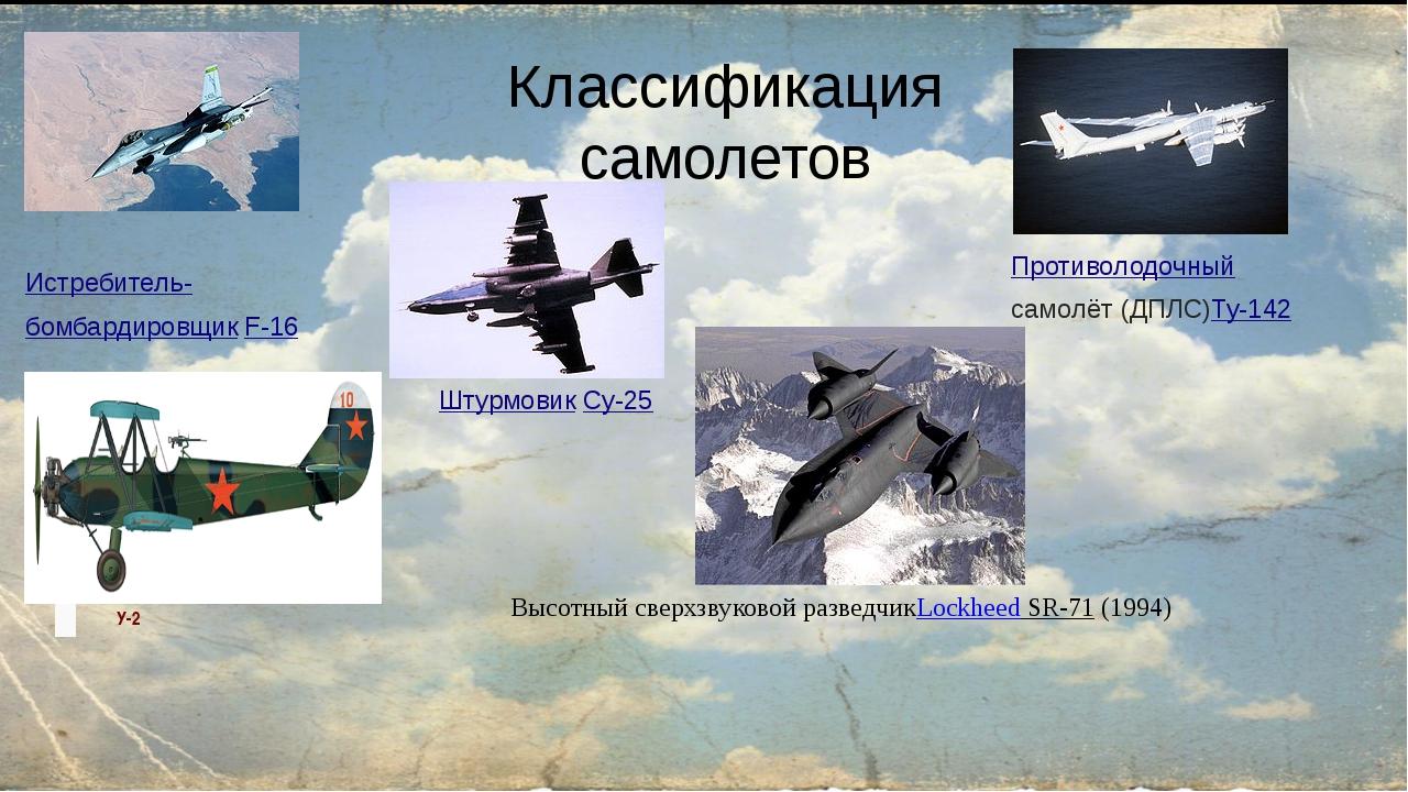 Классификация самолетов ШтурмовикСу-25 Истребитель- бомбардировщикF-16 Прот...