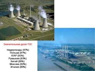 Значительная доля ТЭС Нидерланды (97%) Польша (87%) ЮАР (91%) Румыния (83%) К