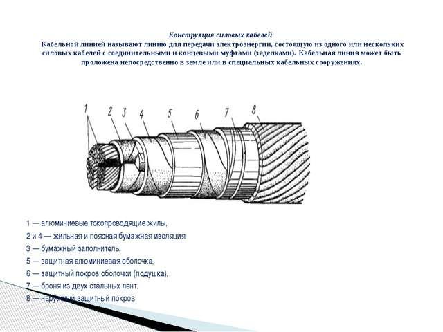 1 — алюминиевые токопроводящие жилы, 2 и 4 — жильная и поясная бумажная изол...
