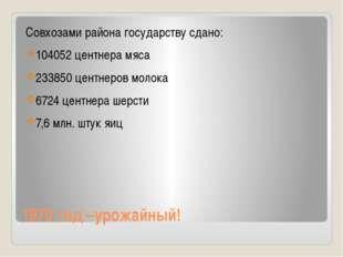 1970 год –урожайный! Совхозами района государству сдано: 104052 центнера мяса
