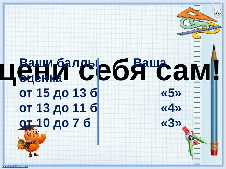 Оцени себя сам! Ваши баллы Ваша оценка от 15 до 13 б «5» от 13 до 11 б «4» от...