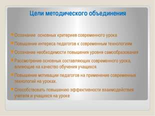 Цели методического объединения Осознаниеосновных критериев современного уро