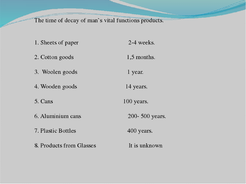 The time of decay of man`s vital functions products. 1. Sheets of paper 2-4 w...