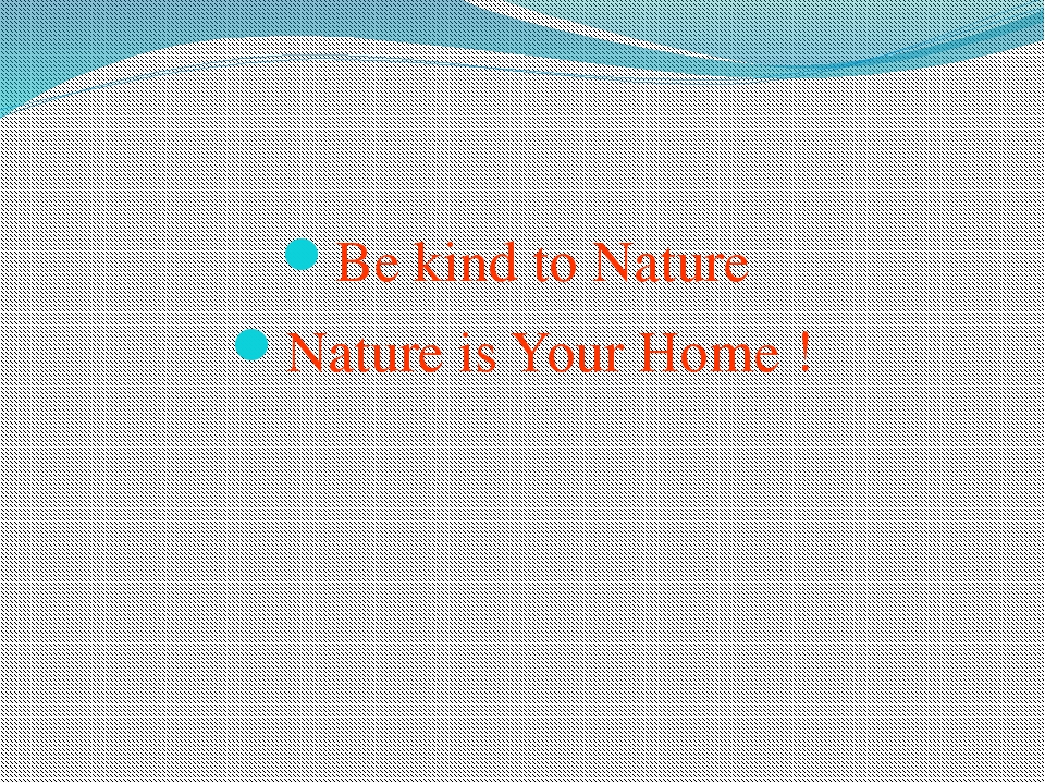 Be kind to Nature Nature is Your Home !