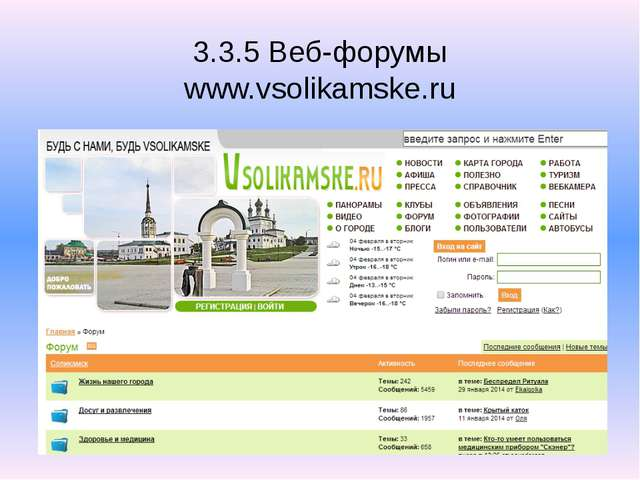 3.3.5 Веб-форумы www.vsolikamske.ru