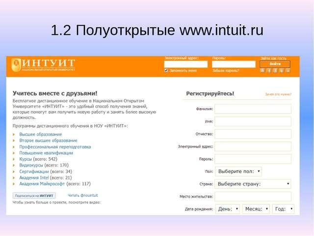 1.2 Полуоткрытые www.intuit.ru