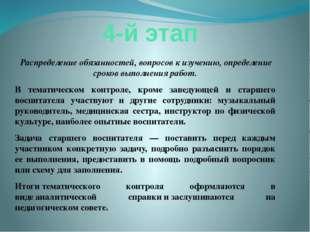 4-й этап Распределение обязанностей, вопросов к изучению, определение сроков