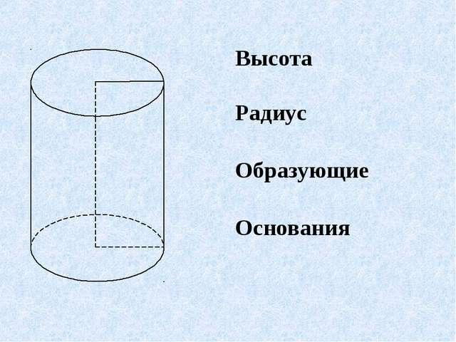 Высота Радиус Образующие Основания