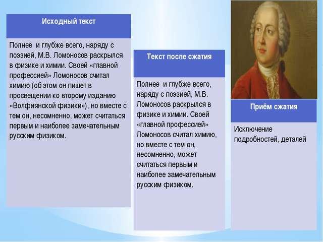Исходный текст Полнее и глубже всего, наряду с поэзией, М.В. Ломоносов раскры...