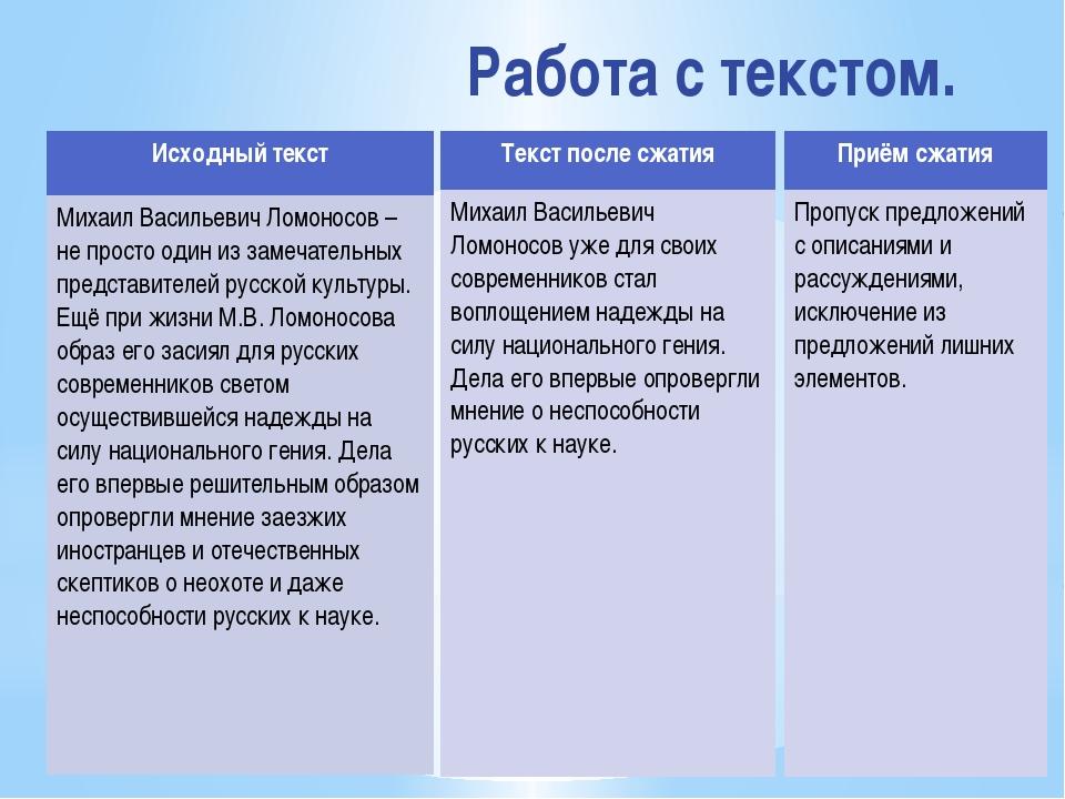 Работа с текстом. Исходный текст МихаилВасильевич Ломоносов – не просто один...