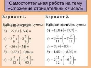 Самостоятельная работа на тему «Сложение отрицательных чисел» В ари ант 1. На