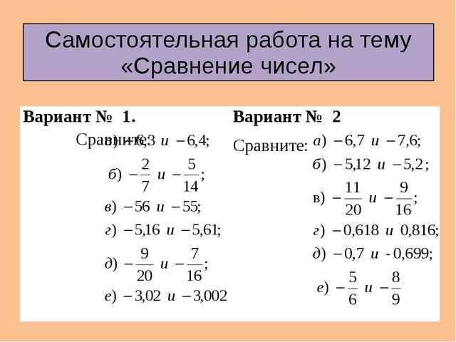 Самостоятельная работа на тему «Сравнение чисел» Вариант № 1.Сравните: Вариан...