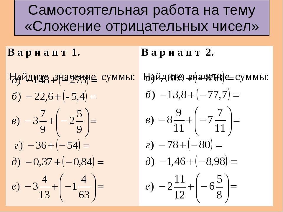 Самостоятельная работа на тему «Сложение отрицательных чисел» В ари ант 1. На...