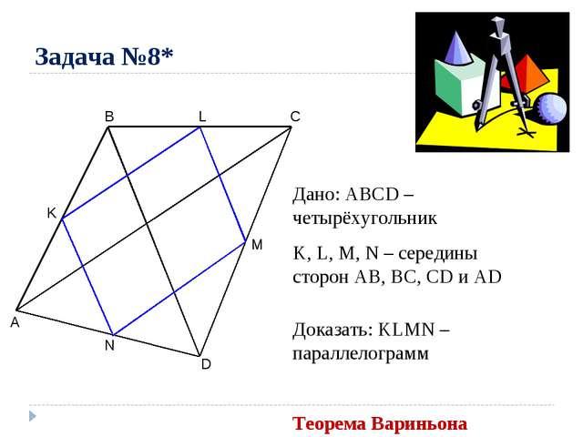 Задача №8* A B C D M N K Дано: ABCD – четырёхугольник K, L, M, N – середины с...