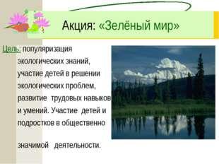 Акция: «Зелёный мир» Цель: популяризация экологических знаний, участие детей