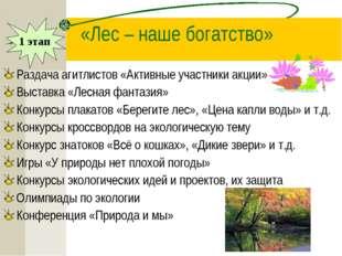 «Лес – наше богатство» Раздача агитлистов «Активные участники акции» Выставка
