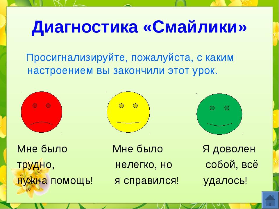 Диагностика «Смайлики» Просигнализируйте, пожалуйста, с каким настроением вы...
