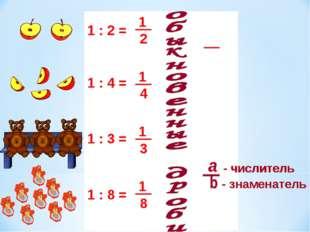 1 : 2 = 1 : 4 = 1 : 8 = 1 : 3 = - числитель - знаменатель - числитель - знаме