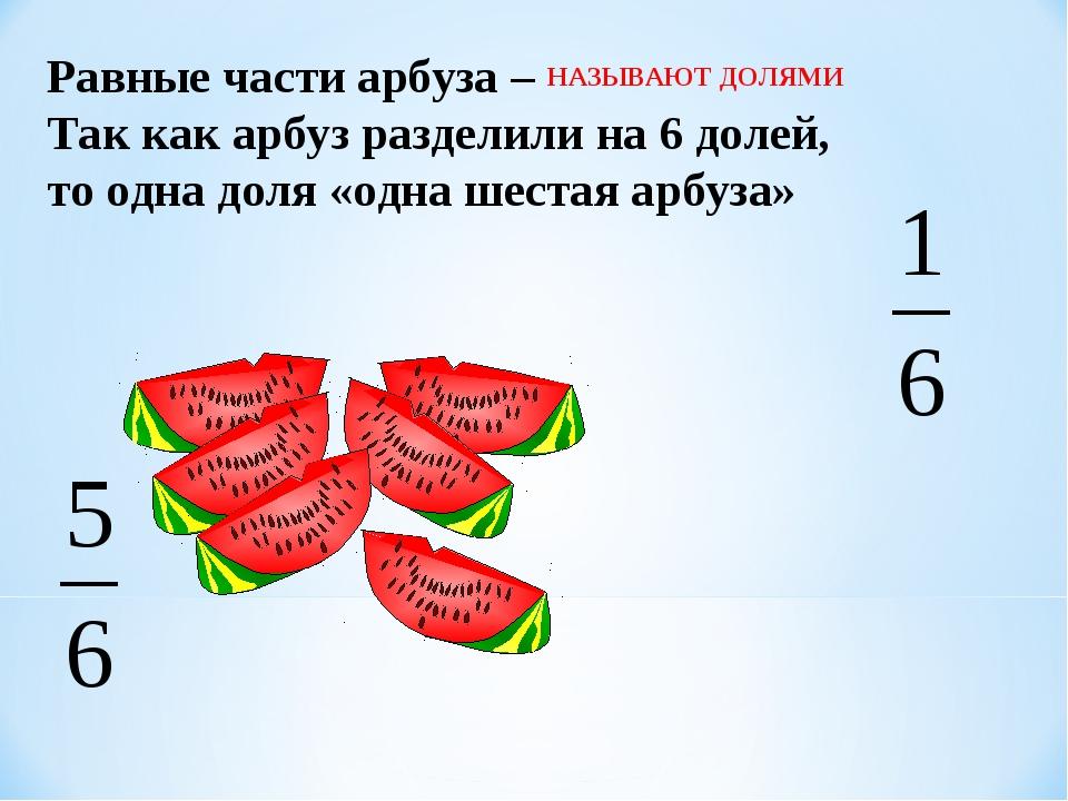 Равные части арбуза – Так как арбуз разделили на 6 долей, то одна доля «одна...