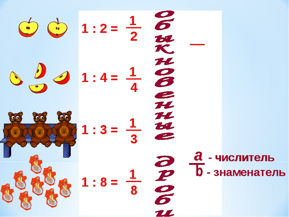 1 : 2 = 1 : 4 = 1 : 8 = 1 : 3 = - числитель - знаменатель - числитель - знаме...