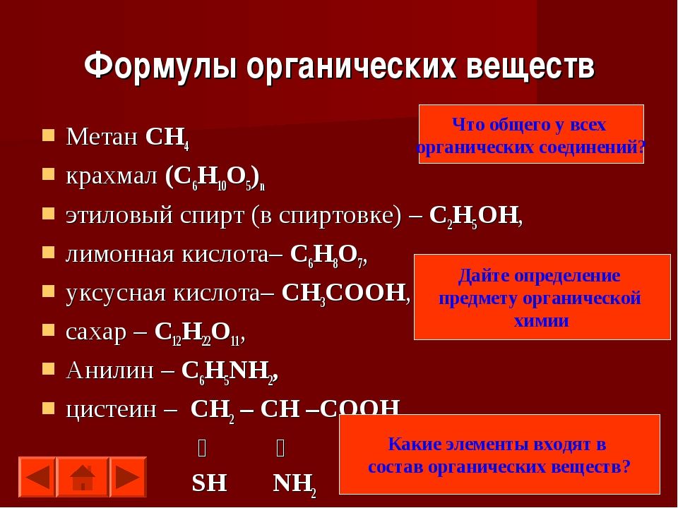 Формулы органических веществ Метан СН4 крахмал (С6H10O5)n этиловый спирт (в с...