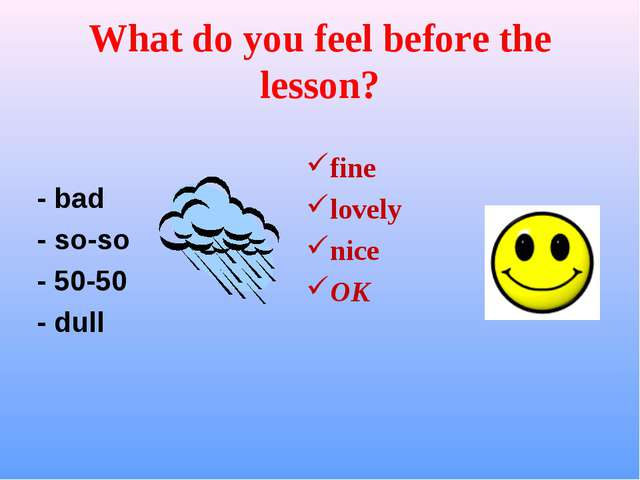What do you feel before the lesson? - bad - so-so - 50-50 - dull fine lovely...