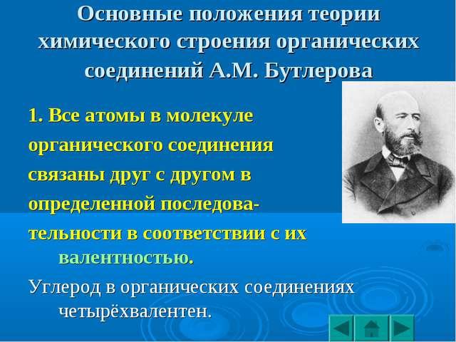 Основные положения теории химического строения органических соединений А.М. Б...