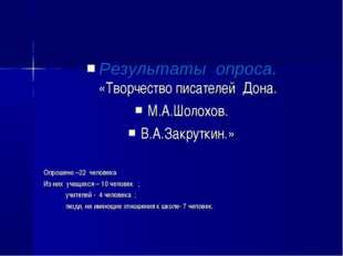 Результаты опроса. «Творчество писателей Дона. М.А.Шолохов. В.А.Закруткин.»