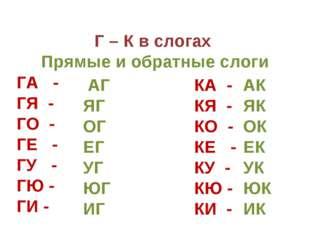 Г – К в слогах Прямые и обратные слоги ГА - ГЯ - ГО - ГЕ - ГУ - ГЮ - ГИ - АГ