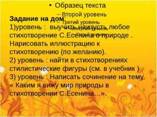 Задание на дом: 1)уровень : выучить наизусть любое стихотворение С.Есенина о