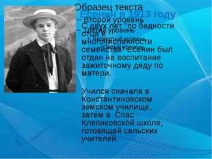 """Сергей Есенин в 1913 году С двух лет """"по бедности отца и многочисленности сем"""