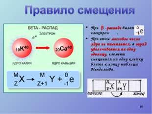 * При  -распаде вылетает электрон . При этом массовое число ядра не изменяет