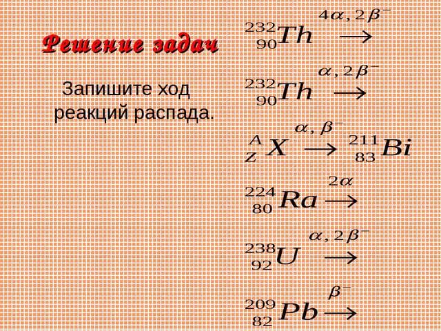 Решение задач Запишите ход реакций распада.