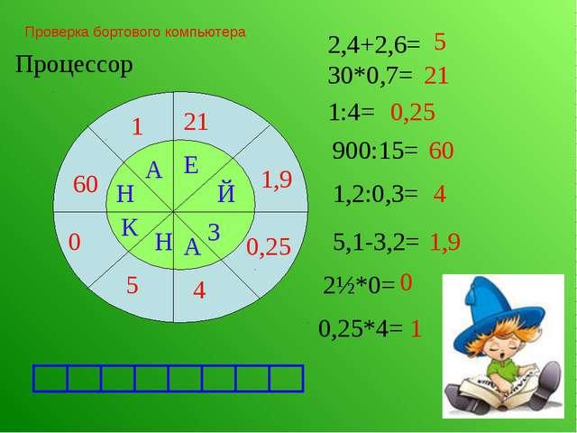 Проверка бортового компьютера Процессор 21 2,4+2,6= 5 30*0,7= 1:4= 0,25 900:1...