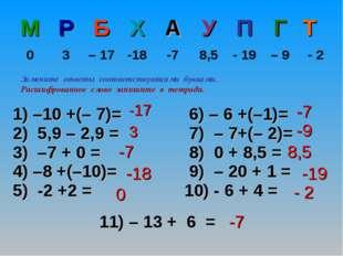 11) – 13 + 6 = -17 3 -7 -18 0 -7 -9 8,5 -19 - 2 -7 Замените ответы соответств