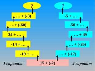 15 + (-2) 1 вариант 2 вариант -19 + … -14 + … 34 + … …+ (-60) … + (-3) ? … +