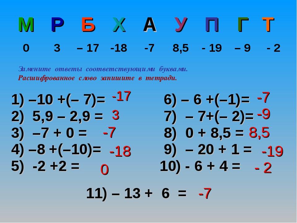 11) – 13 + 6 = -17 3 -7 -18 0 -7 -9 8,5 -19 - 2 -7 Замените ответы соответств...