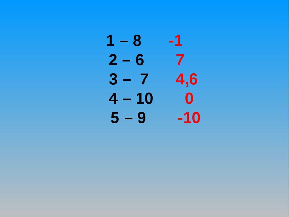 1 – 8 -1 2 – 6 7 3 – 7 4,6 4 – 10 0 5 – 9 -10