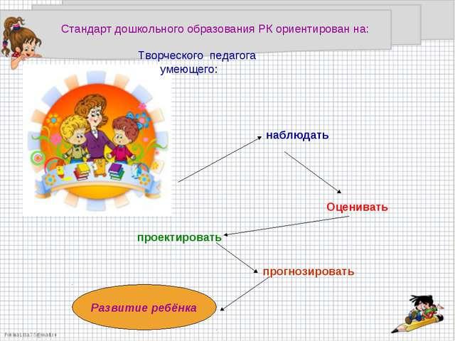 Стандарт дошкольного образования РК ориентирован на: Творческого педагога уме...