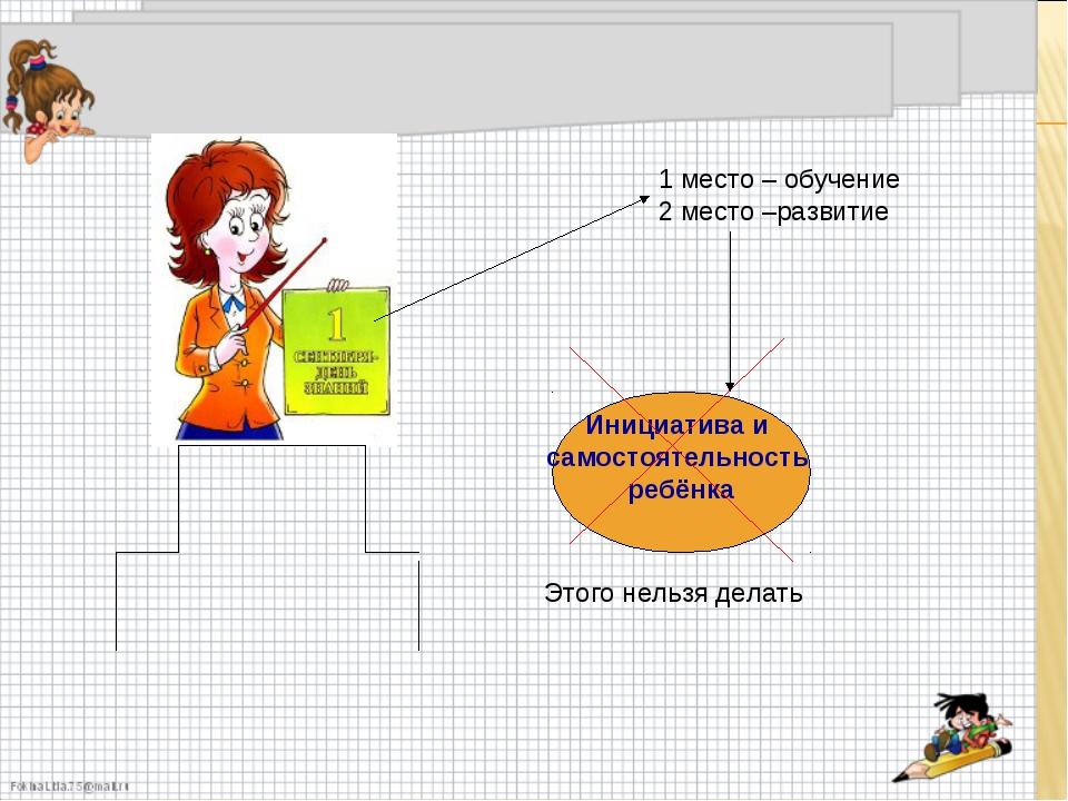 Инициатива и самостоятельность ребёнка 1 место – обучение 2 место –развитие Э...