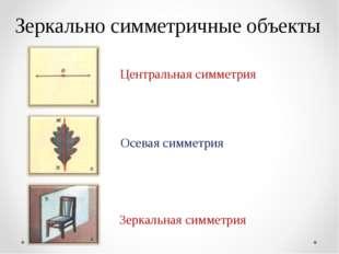 Зеркально симметричные объекты Осевая симметрия Зеркальная симметрия Централь