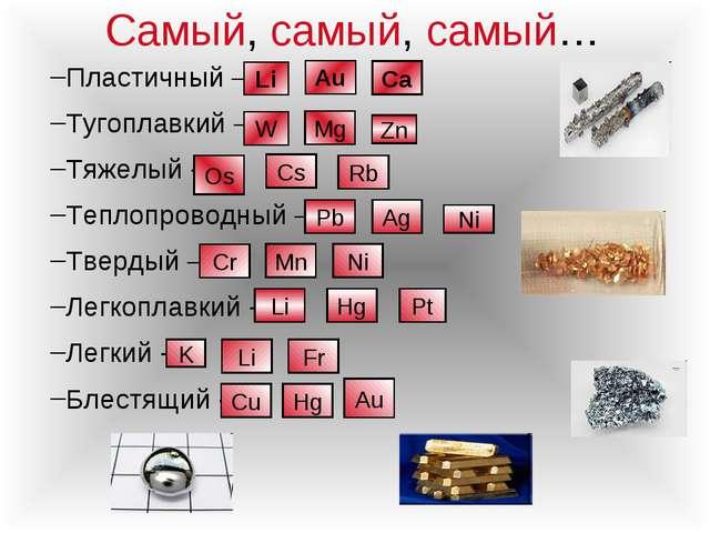 Самый, самый, самый… Пластичный – Тугоплавкий – Тяжелый - Теплопроводный – Тв...