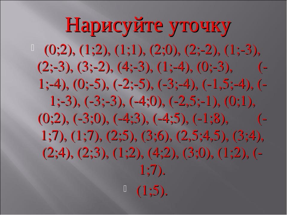 Нарисуйте уточку (0;2), (1;2), (1;1), (2;0), (2;-2), (1;-3), (2;-3), (3;-2),...