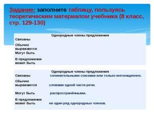 Задание: заполните таблицу, пользуясь теоретическим материалом учебника (8 кл