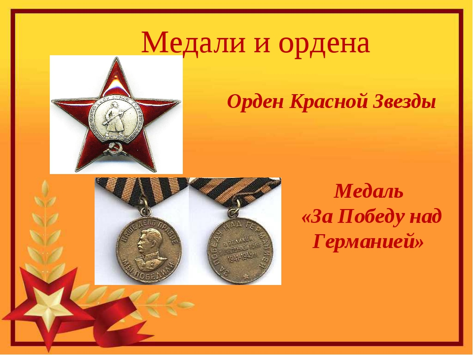 Медали и ордена Орден Красной Звезды Медаль «За Победу над Германией»