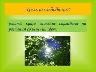 Цель исследования: узнать, какое значение оказывает на растения солнечный свет.