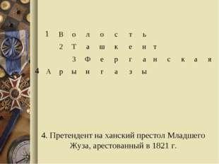 4. Претендент на ханский престол Младшего Жуза, арестованный в 1821 г. 1Во